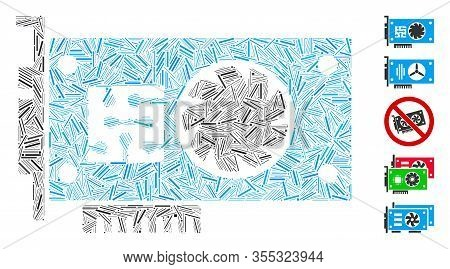 Line Mosaic Based On Gpu Accelerator Card Icon. Mosaic Vector Gpu Accelerator Card Is Created With S