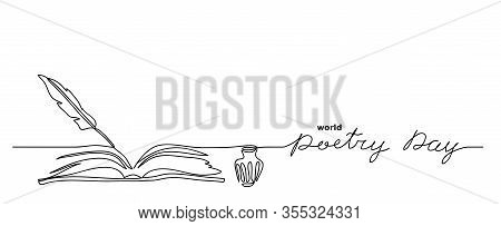 World Poetry Day Minimalist Vector Sketch, Web Background With Feather, Inkwell, And Book. Lettering