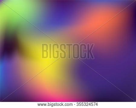 Blurred Hologram Texture Gradient Wallpaper. Vibrant Neon Party Graphics Background. Liquid Colors E