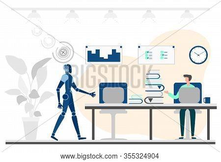 Vector Illustration Robot, Human Teamwork. Partnership With Robot. Artificial Intelligence. People,