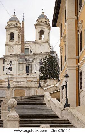 Trinit Dei Monti Church, Rome, Italy. Spanish Steps.