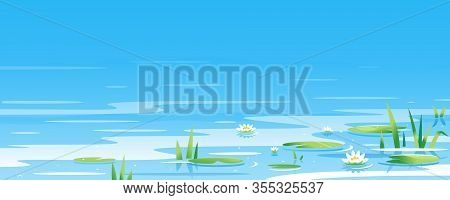 Water Surface With Water Lily And Bulrush Plants Nature Landscape Illustration, Fishing Place, Pond