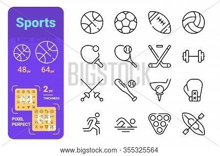 Sports Line Icons Set Vector Illustration. Balls For Different Types Of Games Such As Football, Tenn