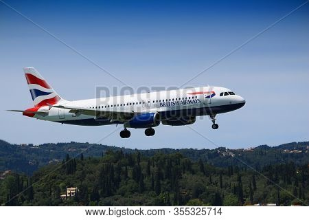Corfu, Greece - June 5, 2016: British Airways Airbus A320 Arrives At Corfu International Airport, Gr