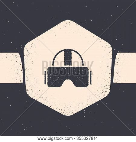 Grunge Virtual Reality Glasses Icon Isolated On Grey Background. Stereoscopic 3d Vr Mask. Monochrome