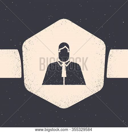 Grunge Lawyer, Attorney, Jurist Icon Isolated On Grey Background. Jurisprudence, Law Or Court Icon.