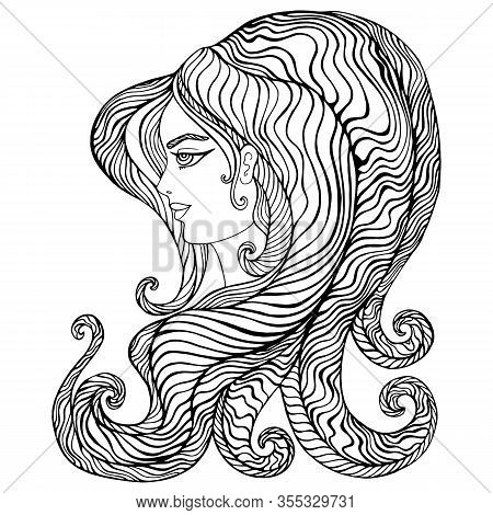 Fantastic Surreal Girl With Wave Hair, Adult Coloring Page, Isolated On White Background.