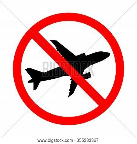 No Plane Flight Is Canceled Icon Illustration Isolated On A White Background. Flight Cancelled Becau