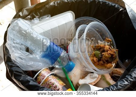 Plastic Bottle And Food Waste On Bin, Bulk Plastic Bags Waste Dirty, Pile Of Trash Plastic Many, A B