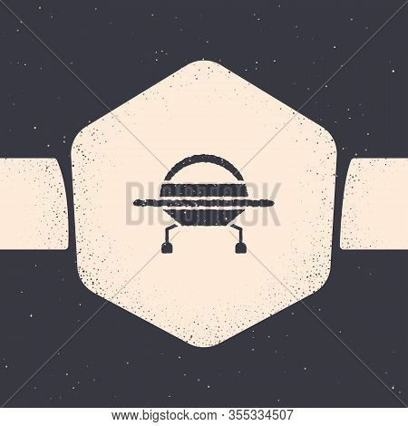 Grunge Ufo Flying Spaceship Icon Isolated On Grey Background. Flying Saucer. Alien Space Ship. Futur