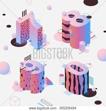 Neon Isometric Numbers, Pink Color. Fon Set Isometric Luminous Characters Seven, Eight, Nine And Zer