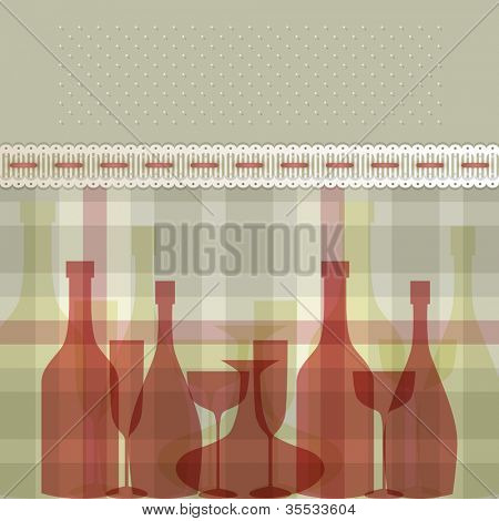 Menu with bottles and glasses