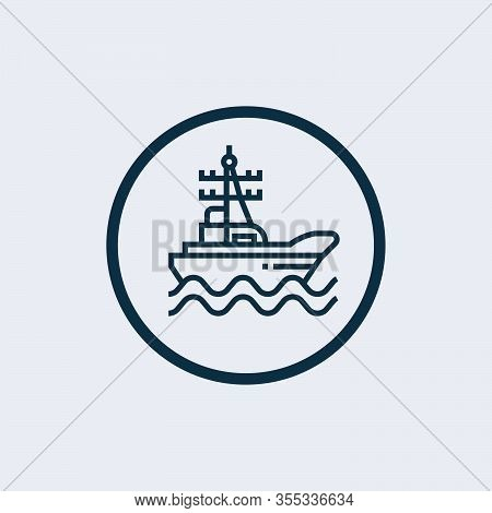 Warship Vector Icon On White Background. Flat Vector Warship Icon Symbol Sign From Modern Army And W