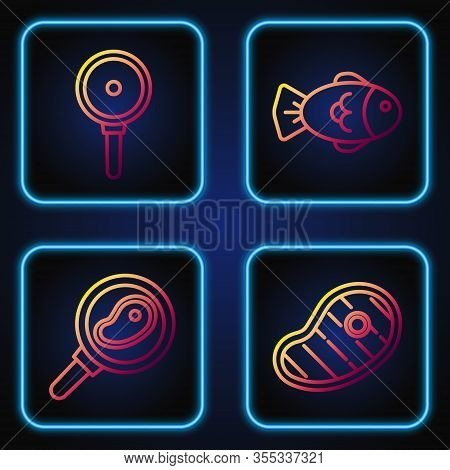 Set Line Steak Meat, Steak Meat In Frying Pan, Frying Pan And Fish. Gradient Color Icons. Vector