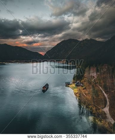 The Almsee Lake In The Austrian Apls Aerial View During Spring