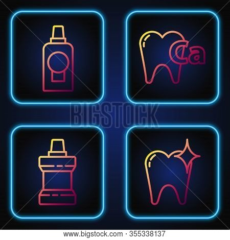 Set Line Tooth Whitening Concept, Mouthwash Plastic Bottle, Mouthwash Plastic Bottle And Calcium For