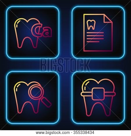 Set Line Teeth With Braces, Dental Search, Calcium For Tooth And Clipboard With Dental Card. Gradien