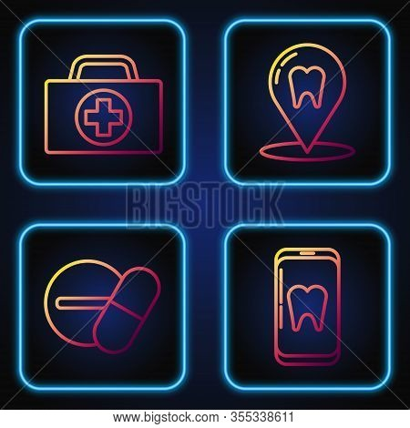 Set Line Online Dental Care, Medicine Pill Or Tablet, First Aid Kit And Dental Clinic Location. Grad