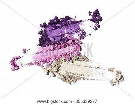 Creative Beauty Fashion Concept Photo Of Cosmetic Products Lipstick Eyeshadows Swatches On White Bac
