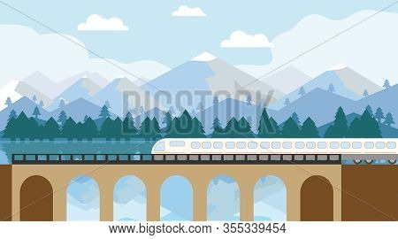A Modern High-speed Train Crosses An Old Bridge. A Modern Train Travels By Rail To The Lobby Of A Be