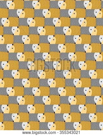 Seamless Abstract Hedgehogs Pattern, Tessellation. Vector Illustration Eps 10