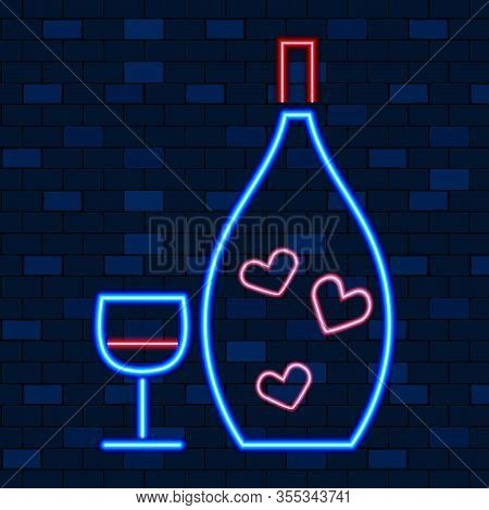 Vip Neon Icons. Night Bright, Glowing Light Banner. Bottle Alcohole Drink With Stemware On Dark Bric