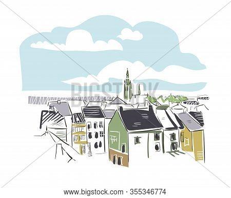 Arlon Belgium Europe Vector Sketch City Illustration Line Art