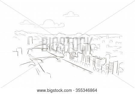 Belgium Liege Europe Vector Sketch City Illustration Line Art