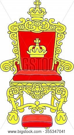 Golden Throne Of An Emperor Or A King Ruling Over A Fairy Kingdom, A Symbol Of Autocratic Power, Vec