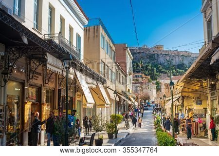 ATHENS, GREECE - February 29, 2022: Athens Flea market in Athens, Greece
