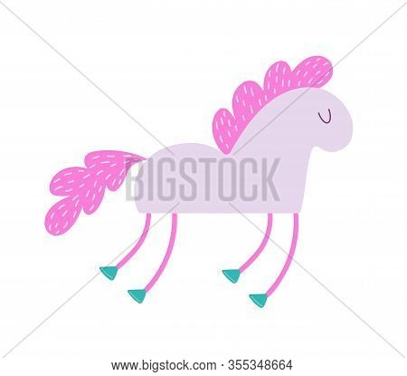 Cute Funny Pink Horse With Fluffy Mane. Fairy Pony Flying With Hooves And Big Tail. Item For Decor A