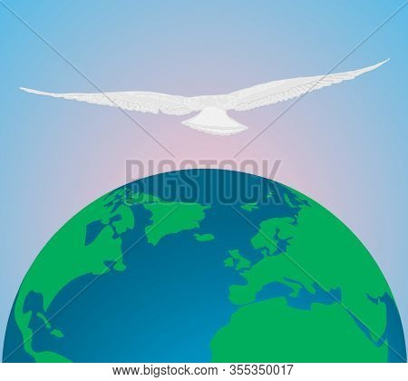 A Seagull Flies Over The Earth The Background Of The Morning Sky. Poster For The Day Or Hour Of The