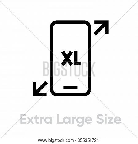 Tech Specs Extra Large Size Phone Icon. Editable Line Vector.