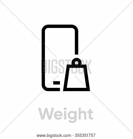 Tech Specs Weight Phone Icon. Editable Line Vector.