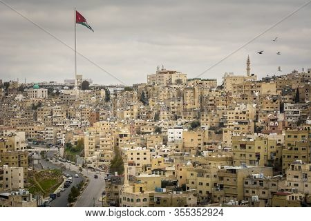 Amman, Jordan, March 2020: Cityscape And Skyline Of Amman In Jordan, With View On The Raghadan Flagp