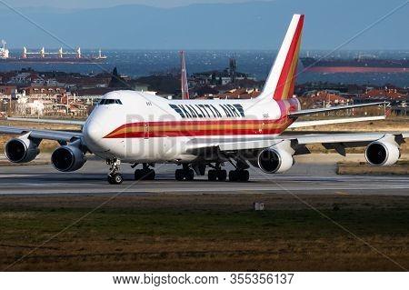 Istanbul / Turkey - March 29, 2019: Kalitta Air Boeing 747-400 N402kz Cargo Plane Departure At Istan