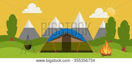Campsite Place In Forest Vector Cartoon Illustration Horizontal Banner. Camping Landscape With Tent,