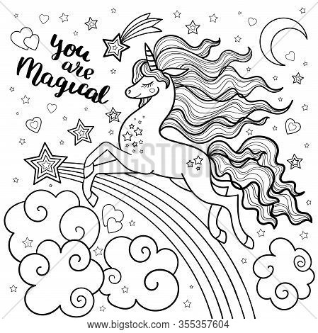 Unicorn With A Long Mane. Black And White For Coloring. Vector