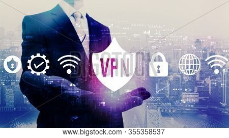 Vpn Concept With Businessman On A City Background