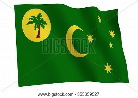 Cocos Islands Flag, 3d Render. Flag Of Cocos Islands Waving In The Wind, Isolated On White Backgroun