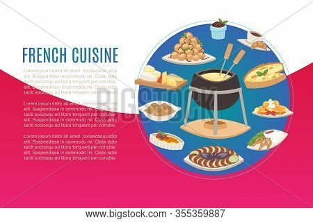 French Cuisine, National Menu Of France Food For Restaurant Cartoon Vector Illustration. Frenchman D
