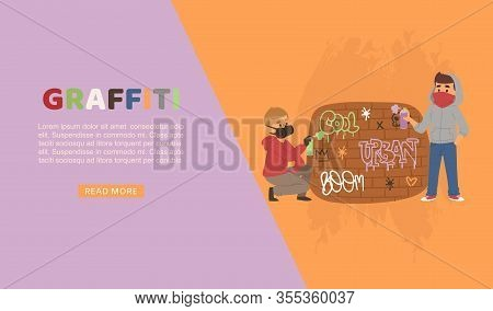 Graffiti Art Boys Painting And Writting Text With Spray Cans On Wall Cartoon Vector Illustration. Gr