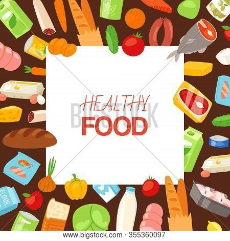 Healthy Food And Diet Concept Banner With Wholegrane Bread, Meat, Fish, Vegetables And Milk Products