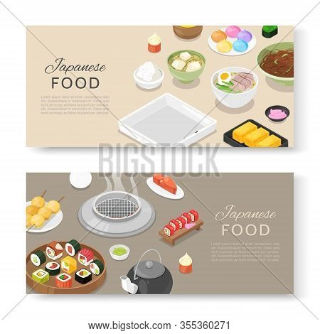 Japanese Food Banners Set Asian Cuisine With Sushi Rolls, Sashimi, Noodle And Miso Soup Cartoon Vect