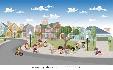 Cute happy cartoon kids playing in the street of a retro suburb neighborhood. Cartoon city.