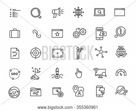 Set Of Linear Seo Icons. Promotion Icons In Simple Design. Vector Illustration