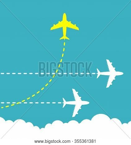 Think Different Business Concept Illustration, Bright Yellow Airplane Changing Direction And White O
