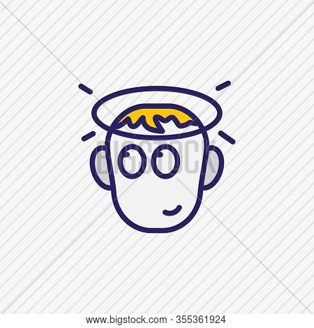 Vector Illustration Of Innocent Icon Colored Line. Beautiful Emoticon Element Also Can Be Used As In