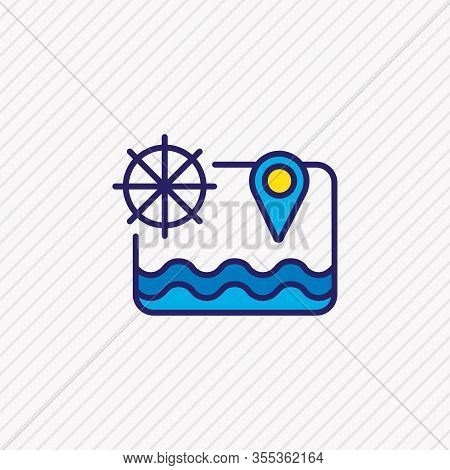 Vector Illustration Of Sea Map Icon Colored Line. Beautiful Naval Element Also Can Be Used As Destin