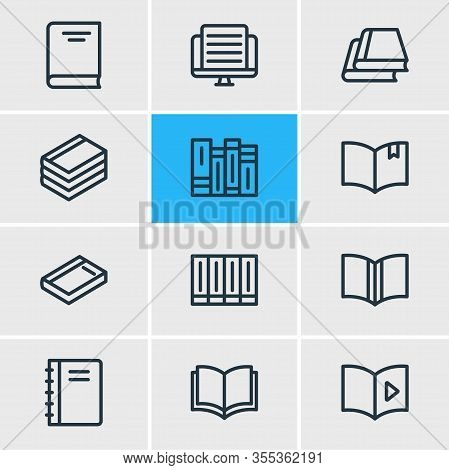 Vector Illustration Of 12 Book Icons Line Style. Editable Set Of Encyclopedia, Publication, Dictiona